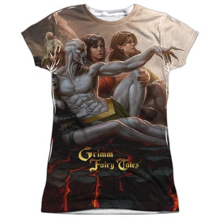 Zenescope/Evil Vs Good (Front/Back Print) Short Sleeve Junior 100-percent Poly Crew in White
