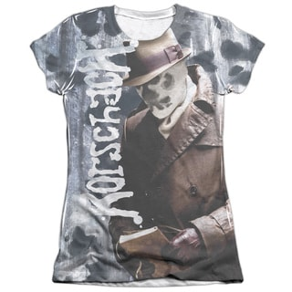 Watchmen/Rorschachs Journal (Front/Back Print) Short Sleeve Junior Poly/Cotton Crew in White