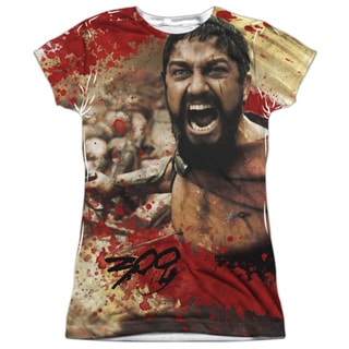 300/Bloody Mess Short Sleeve Junior Poly Crew in White