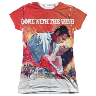 Gone With The Wind/Poster Short Sleeve Junior Poly Crew in White