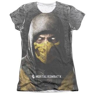 Mortal Kombat X/Finish Him Short Sleeve Junior Poly/Cotton Crew in White