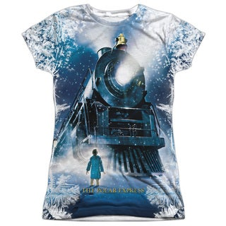 Polar Express/Journey (Front/Back Print) Short Sleeve Junior Poly Crew in White