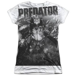 Predator/In The Jungle Short Sleeve Junior Poly Crew in White