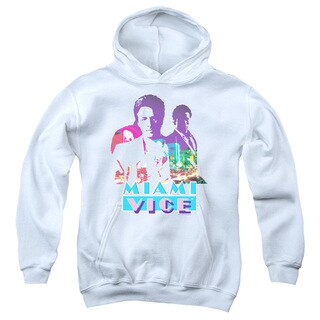 Miami Vice/Crockett and Tubbs Youth Pull-Over Hoodie in White