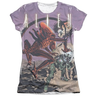 Alien/Ready or Not (Front/Back Print) Short Sleeve Junior Poly/Cotton Crew in White