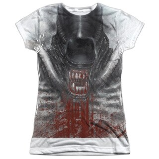 Alien/Blood Drool Short Sleeve Junior Poly Crew in White