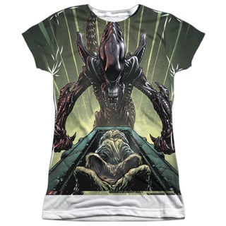 Alien/Egg Collection (Front/Back Print) Short Sleeve Junior Poly Crew in White