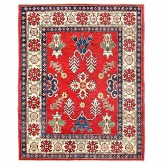 Herat Oriental Afghan Hand-knotted Kazak Wool Rug (4'2 x 5'3)