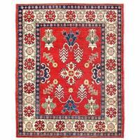 Handmade Herat Oriental Afghan Kazak Wool Rug  - 4'2 x 5'3 (Afghanistan)