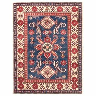 Herat Oriental Afghan Hand-knotted Kazak Navy/ Ivory Wool Rug (3'9 x 5'1)