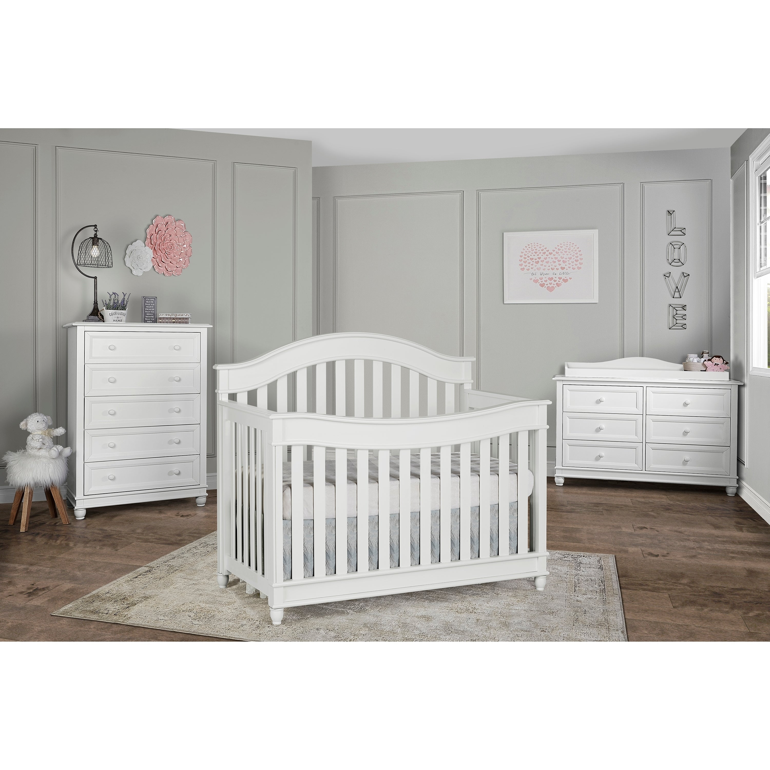 Dreamonme Mia Moda Parkland White Wood Convertible Crib (...