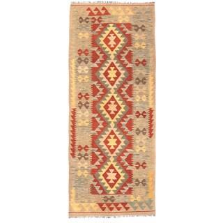 Herat Oriental Afghan Hand-woven Mimana Kilim Red/ Gray Wool Runner (2'6 x 6'4)