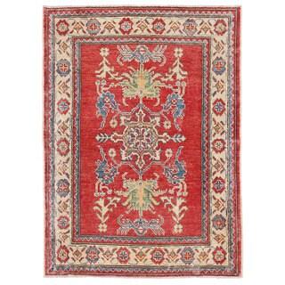 Herat Oriental Afghan Hand-knotted Kazak Red/ Ivory Wool Rug (2'8 x 3'8)
