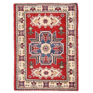 Herat Oriental Afghan Hand-knotted Kazak Red/ Ivory Wool Rug (1'11 x 2'7)