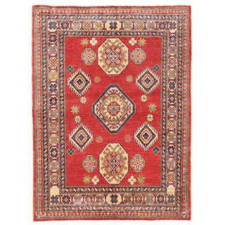 Herat Oriental Afghan Hand-knotted Kazak Red/ Ivory Wool Rug (3'6 x 4'9)