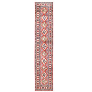 Herat Oriental Afghan Hand-knotted Kazak Red/ Ivory Wool Runner (2'4 x 11'9)