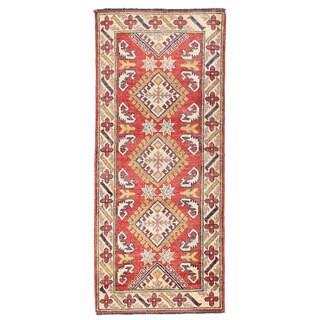 Herat Oriental Afghan Hand-knotted Kazak Red/ Ivory Wool Rug (2'2 x 5'2)