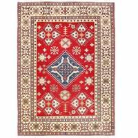 Herat Oriental Afghan Hand-knotted Kazak Wool Rug (7'11 x 11') - 7'11 x 11'