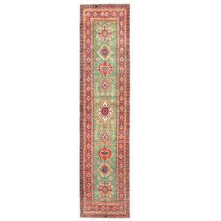 Herat Oriental Afghan Hand-knotted Kazak Light Green/ Red Wool Runner (2'6 x 10'9)