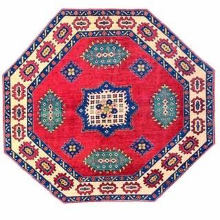 Herat Oriental Afghan Hand-knotted Kazak Wool Rug (7' x 7'10) - 7' x 8'