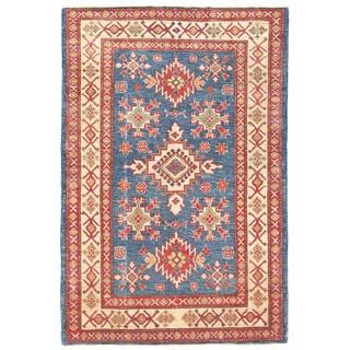 Herat Oriental Afghan Hand-knotted Kazak Blue/ Ivory Wool Rug (3'10 x 5'8)