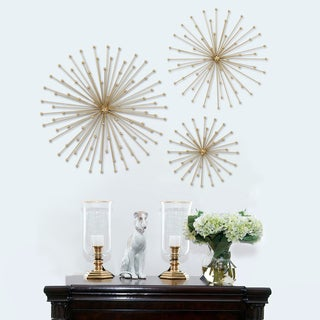 Stratton Home Decor Gold Metal Burst 3-piece Wall Decor