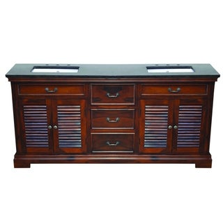 Solidified Natural Teak Finish Solid Sheesham Wood 72-inch Double Bath Vanity With Black Granite Top and Sink