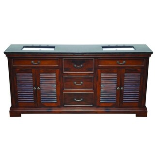 Y-Decor Solidified Double Basin Vanity in Brown with Black Vanity Top