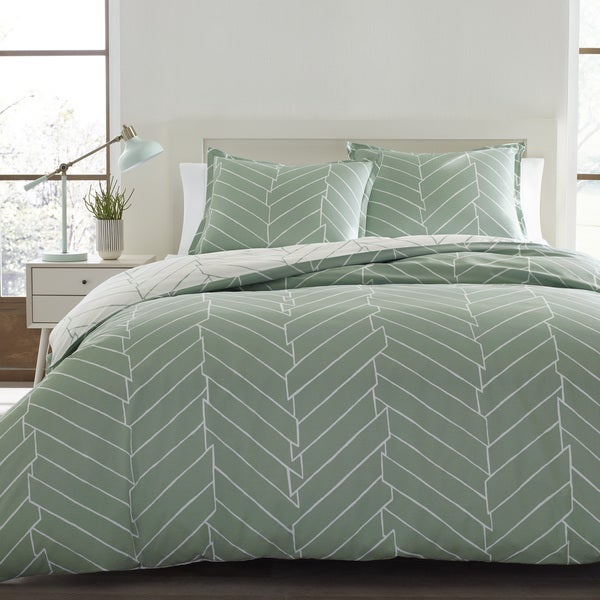 City Scene Ceres Green And White Chevron Cotton 3 Piece