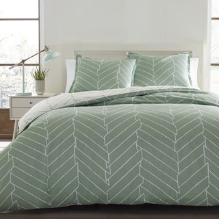City Scene Ceres Green and White Chevron Cotton 3-Piece Duvet Cover Set