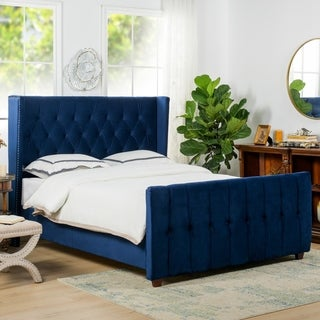 Jennifer Taylor David Tufted Wingback Upholstered Bed Size - Queen