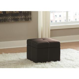 DHP Delaney Black Small Square Ottoman