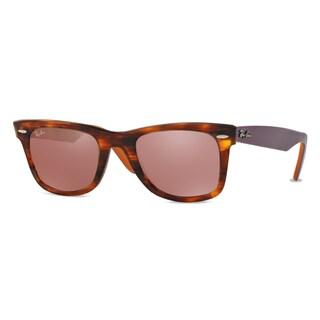 Ray-Ban Wayfarer Bicolor RB2140 11772K Unisex Tortoise/Purple/Orange Frame Red Mirror Lens Sunglasses