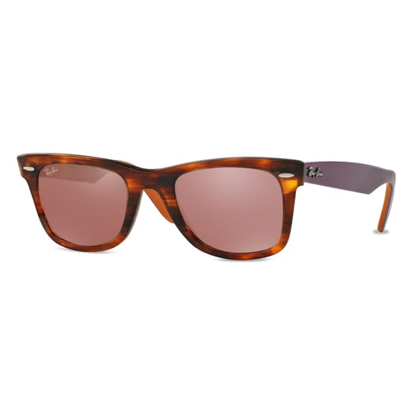 c151fd2964724 Ray-Ban Wayfarer Bicolor RB2140 11772K Unisex Tortoise Purple Orange Frame  Red Mirror