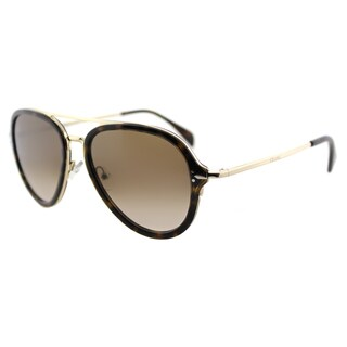Celine CL 41374 ANT Dark Havana And Gold Grey Polarized Lens Aviator Sunglasses