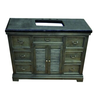"Y-Decor Solidified 48"" W x 24"" D Vanity in Gray w/ Black Vanity Top"