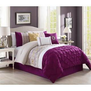 Prospera Purple Embrodiery 7-piece Comforter Set