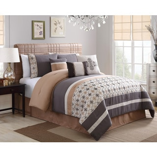 Splendor Grey Embroidery 7-piece Comforter Set