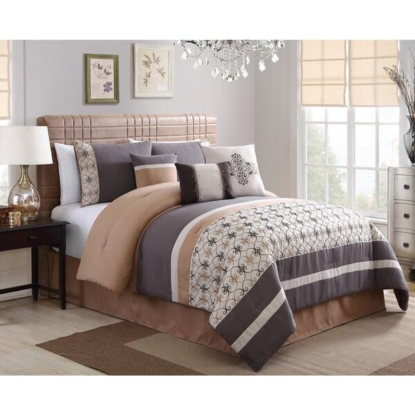 Splendor Grey Embroidery 7-piece Comforter Set