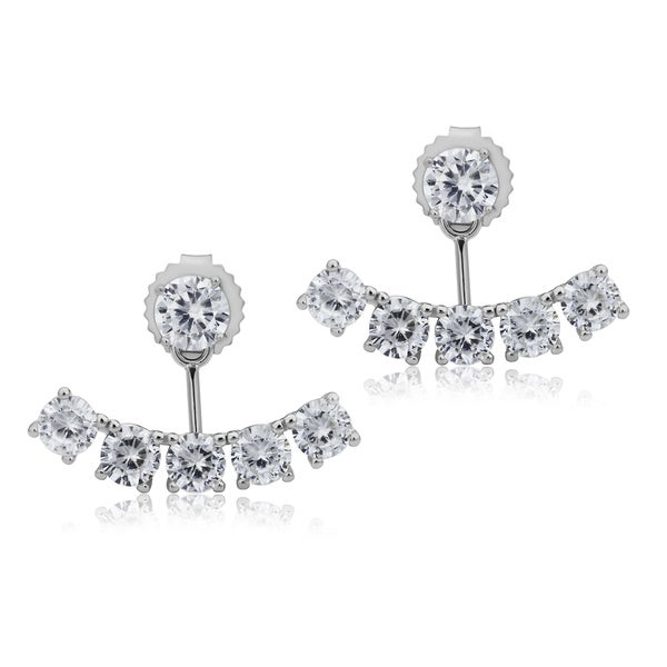 925 Sterling Silver Rhodium-plated 5mm Round CZ Earrings w//Flower Jackets