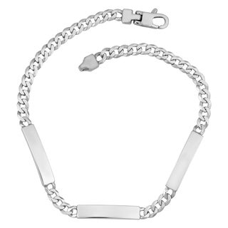 Argento Italia Rhodium Plated Sterling Silver 3.4-mm Triple Identification Bracelet (8.5 inch)
