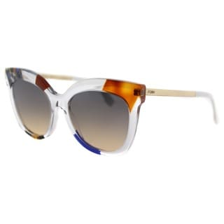 Fendi FF 0179 TKT Jungle Crystal Gold Plastic Square Sunglasses Brown Gradient Lens