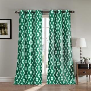 Donna Geometric Print Polyester Blackout Curtain Panel Pair