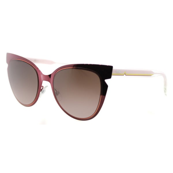 caf471dd418e Fendi FF 0133 NPQ Red And Crystal Pink Metal Brown Gradient Lens Sunglasses