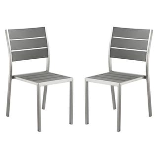 Cortesi Home Maxwell Slate Grey Wood and Aluminum Outdoor Stackable Dining Chair (Set of 2)