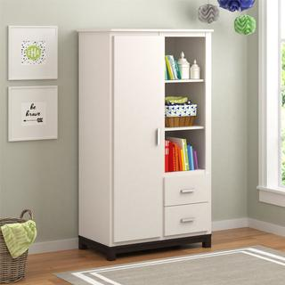 Ameriwood Home Leni White and Coffee House Plank Armoire by Cosco