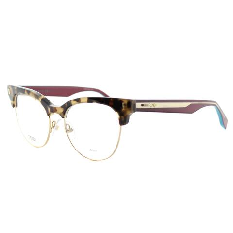 Fendi Women's FF 0163 VHB Havana Cyclamen and Gold Plastic 51-millimeter Cat-eye Eyeglasses