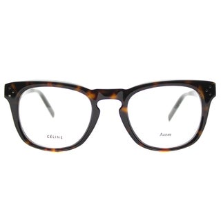 Celine Women's Dark Havana Brown Plastic Square Eyeglasses