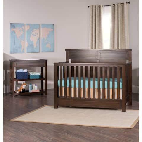Child Craft Abbott 4-in-1 Convertible Baby Crib Rich Walnut