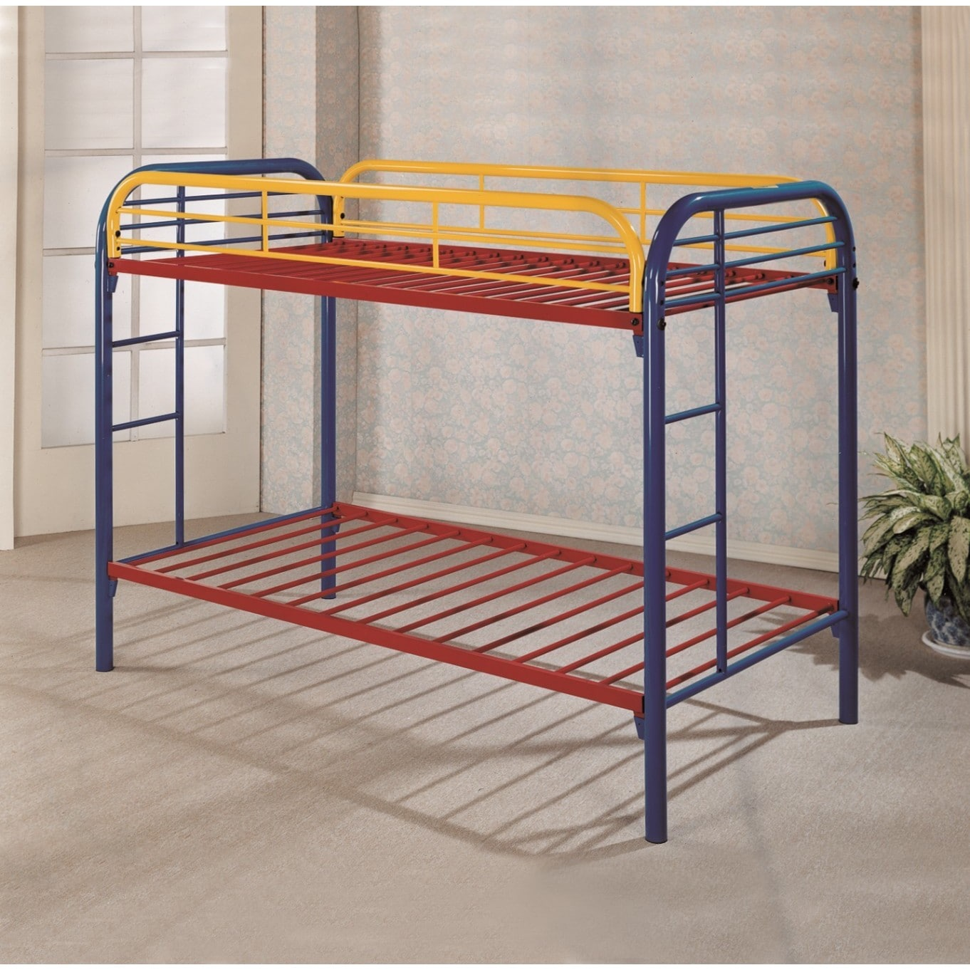 Picture of: Lyke Home Mellisa Blue Red Yellow Metal Twin Twin Rainbow Bunk Bed Overstock 11952508